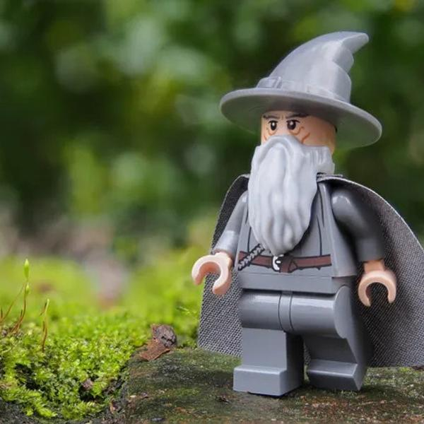 Gandalf from the movie Lord Of The Rings, made from Lego.