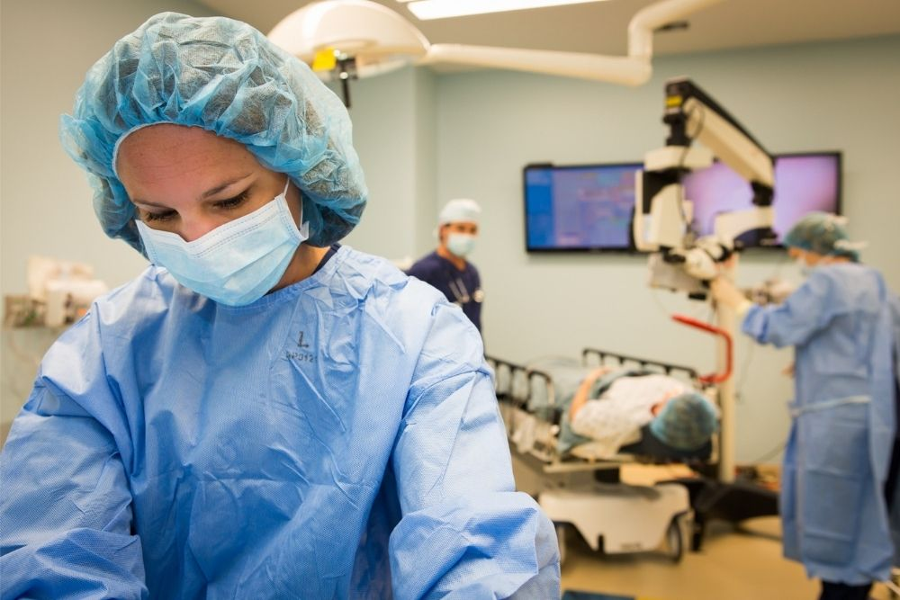 A funny doctor with a yellow background.