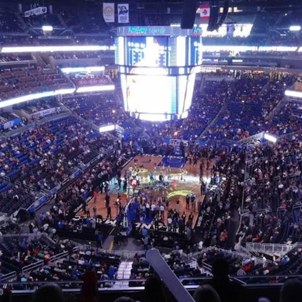 The Amway Center of the Orlando Magics during an NBA game.