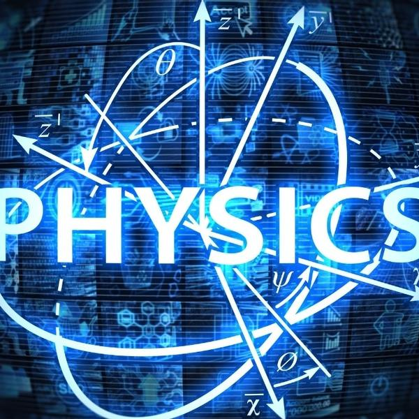 The word physics written on neon lights with physics elements.
