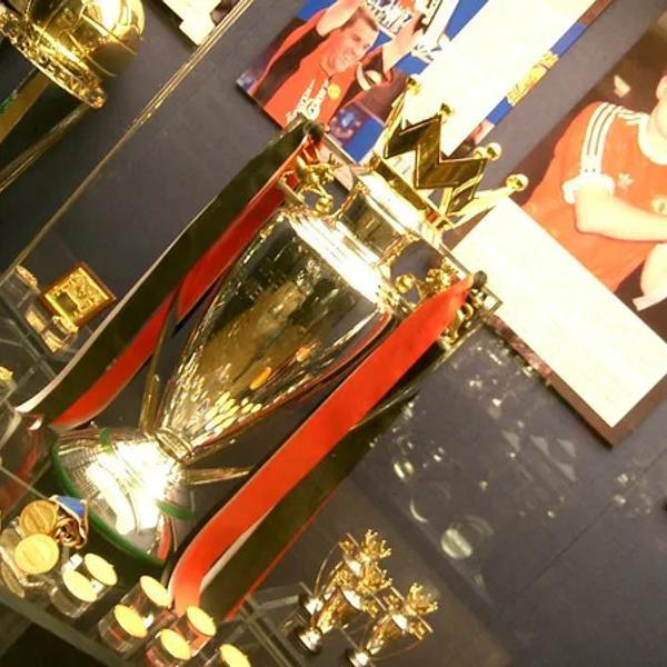 Premier League trophy in Manchester United Museum.