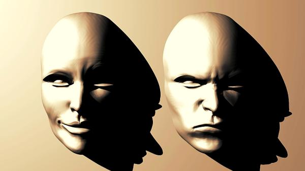 The human mood in Psychology - A happy face and an angry face.