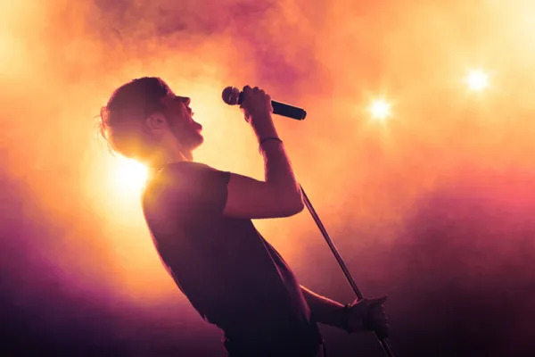 Singer holding a microphone stand and performing on stage in a music concert, with a lot of smoke.