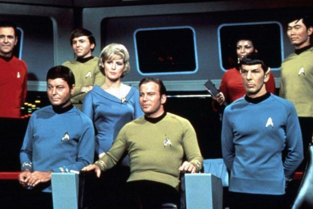 Star Trek Characters, sitting inside the starship, from the original Star Trek TV series.