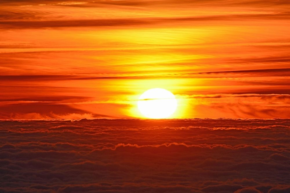 Sunset over the sky and clouds.
