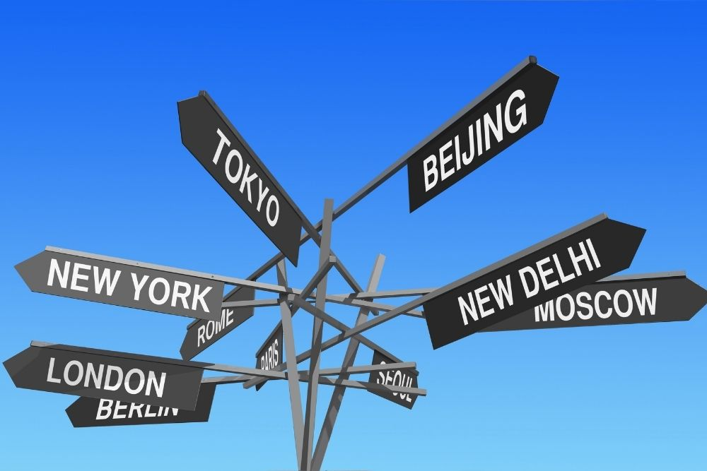 Many signs show the direction to many capitals of the world.