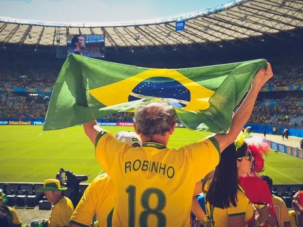 Brazilian fan in a World Cup game.