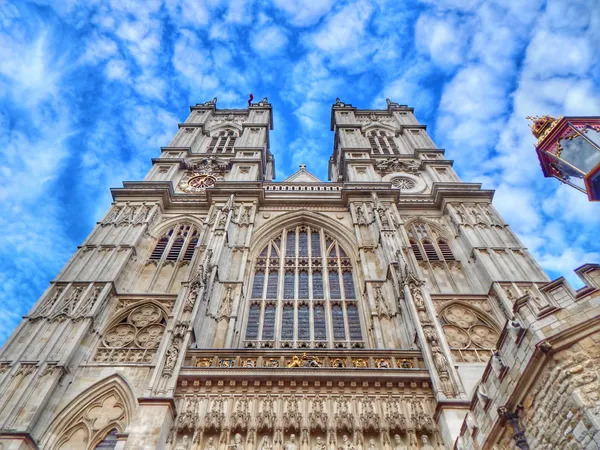 Looking up at the historical Westminster Abbey.