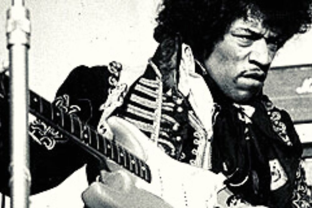 Jimi Hendrix on a much concert during the 60s.