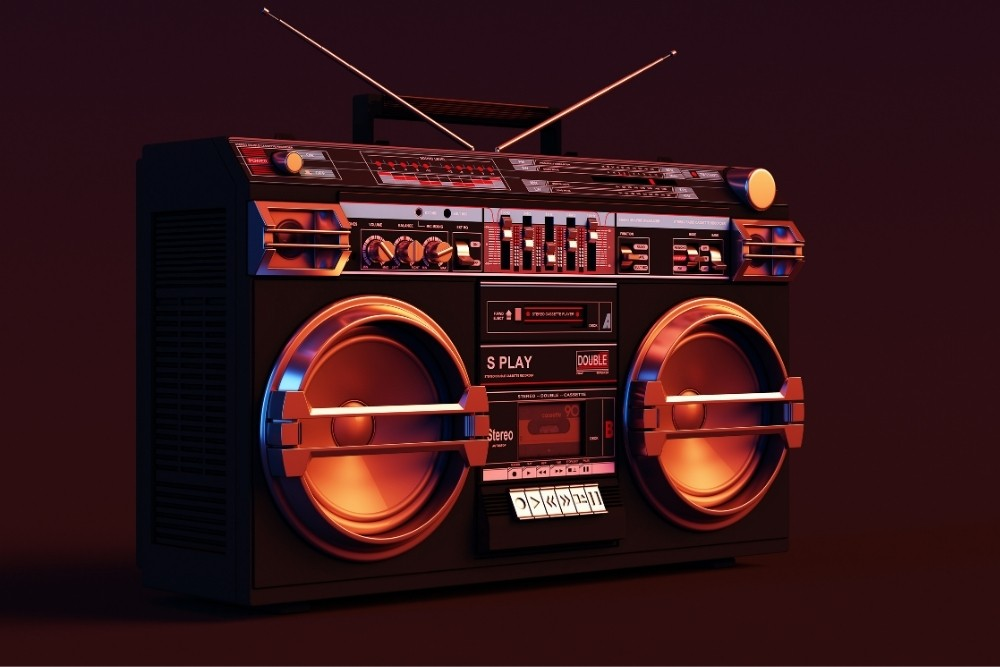 An 80s stereo playing music.