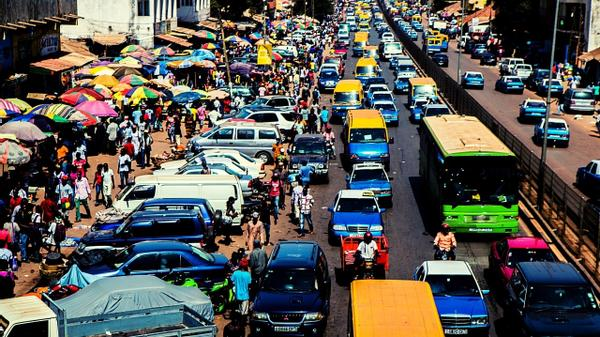 Traffic jam in an African city.