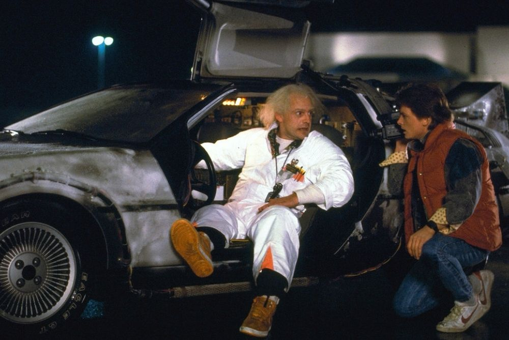 Doc Brown and Marty Mcfly on the Delorean from Back To The Future.