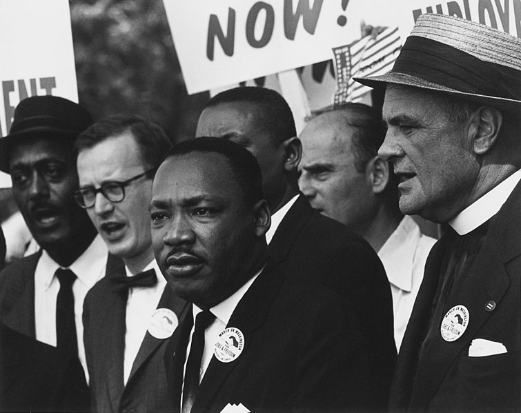 """Martin Luter King in his famous """"I have a dream"""" speech that made a change in black history."""