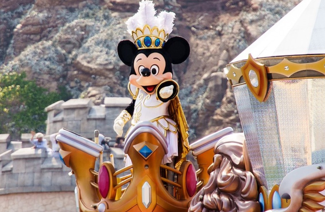 Disney's Mickey Mouse, as a king in Disneyland.