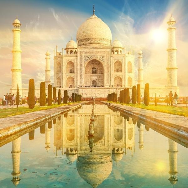 The Taj Mahal, a famous and historical marble mausoleum.