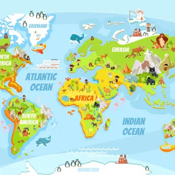 Cartoon geography world map with a lot of funny animals.
