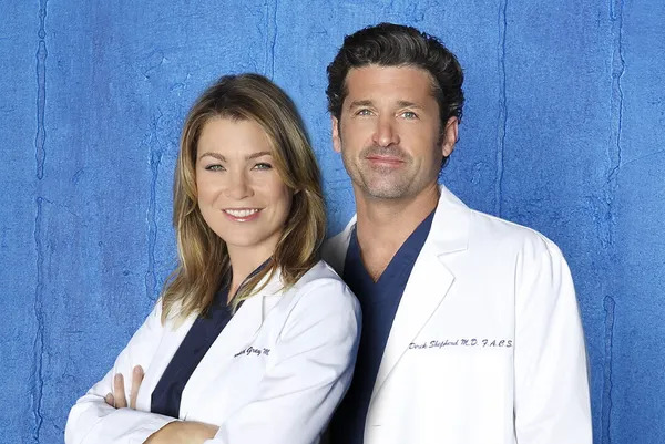 Ellen Pompeo as Dr. Meredith Grey and Patrick Dempsey as Dr. Derek Shepherd