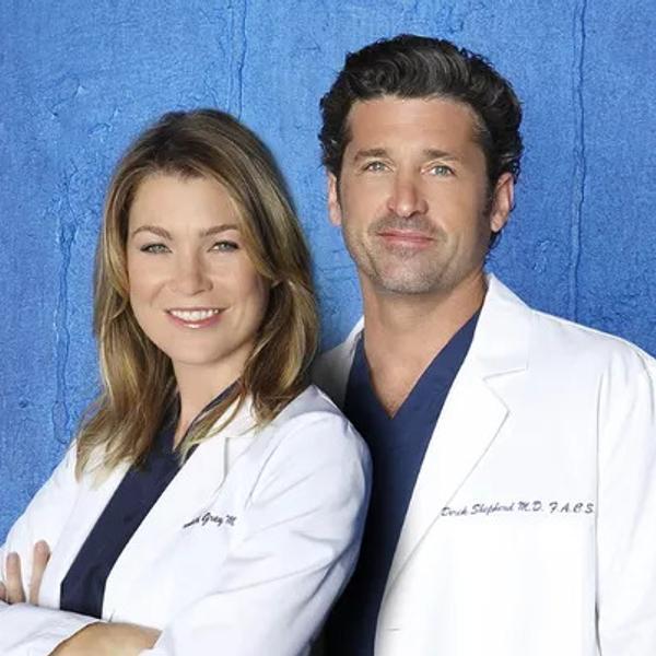 Ellen Pompeo as Dr. Meredith Grey and Patrick Dempsey as Dr. Derek Shepherd