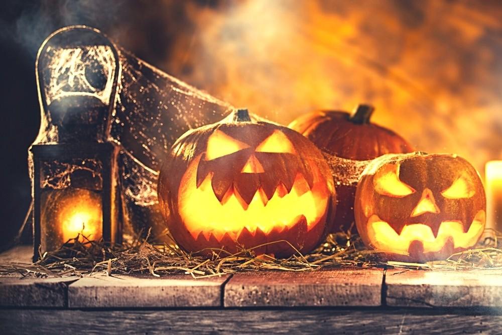 Scary Halloween pumpkins.