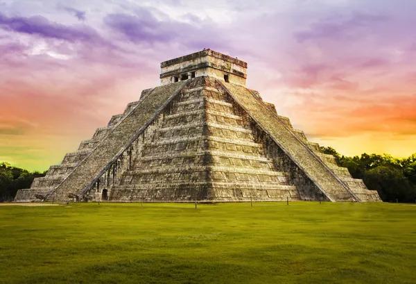 Historic Pyramid Kukulcan temple in Mexico - Mayan civilization.