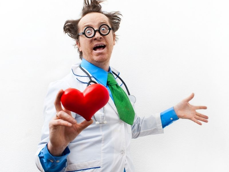 A funny, crazy doctor talking about medical terminology.