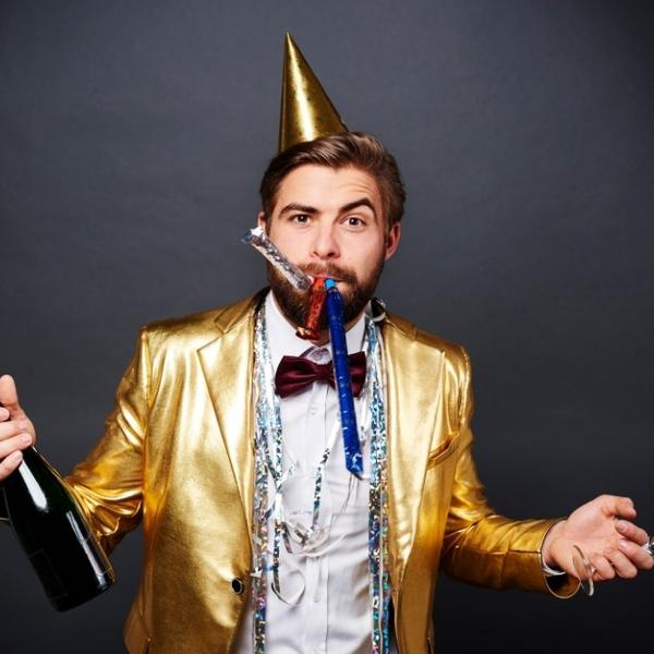 A man celebrating the new years eve.