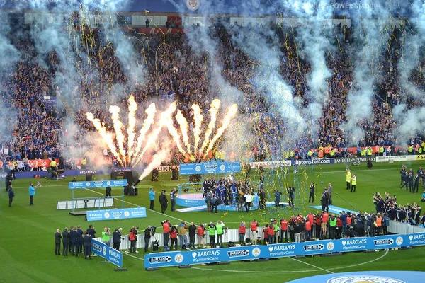 Premier League Champions celebration on the soccer court.