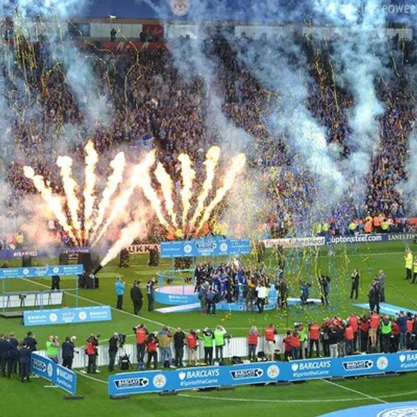 Premier League Champions celebration on the soccer court.