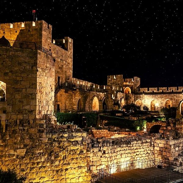 The historical old city of Jerusalem at night.