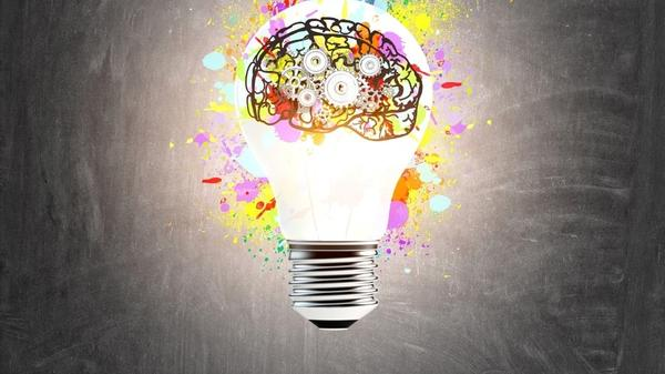 colorful light bulb with a brain illustrating fun quiz and thinking.