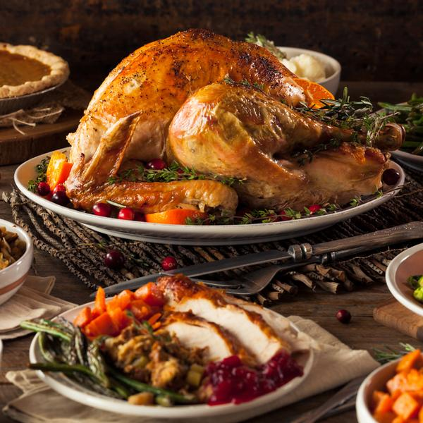 A thanksgiving turkey in an holiday dinner.