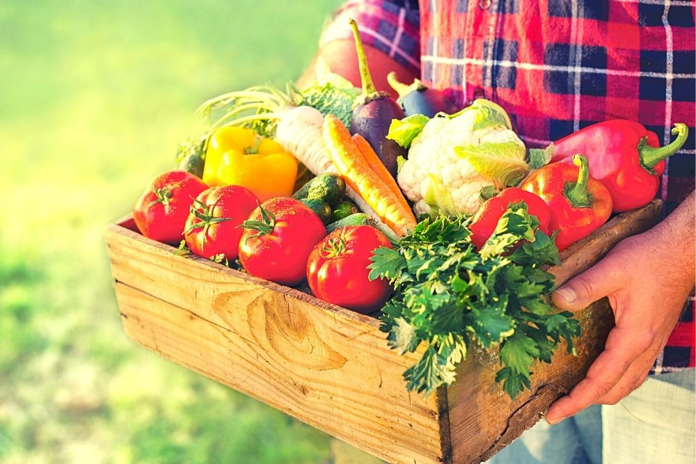 A man holds a vegetable box.