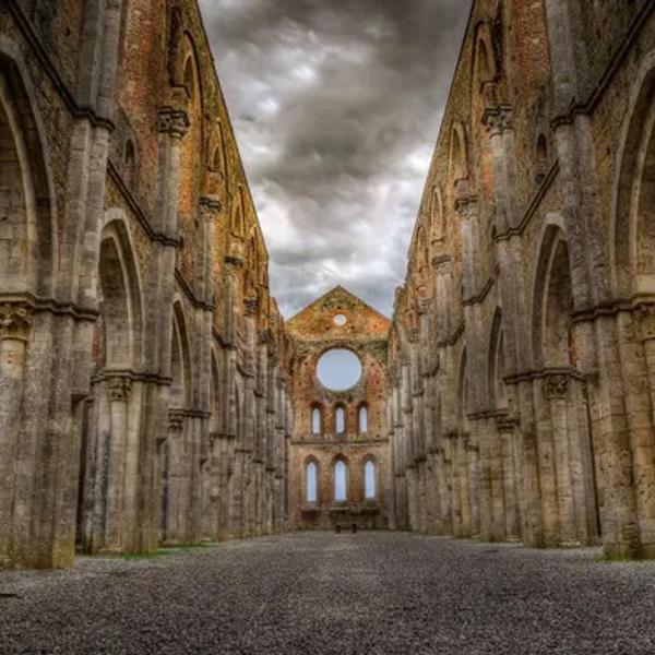 Historical ruins in San Galgano in Tuscany.