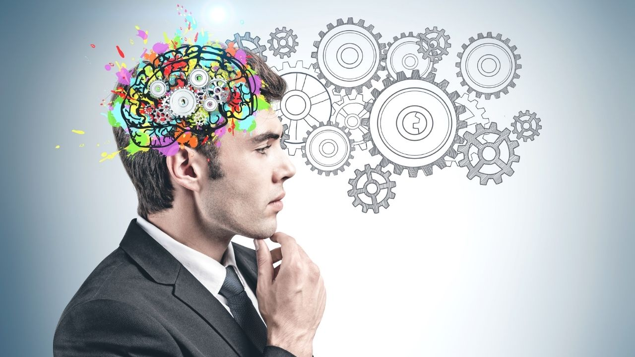 A man practices an IQ test and assesses his cognitive skills.