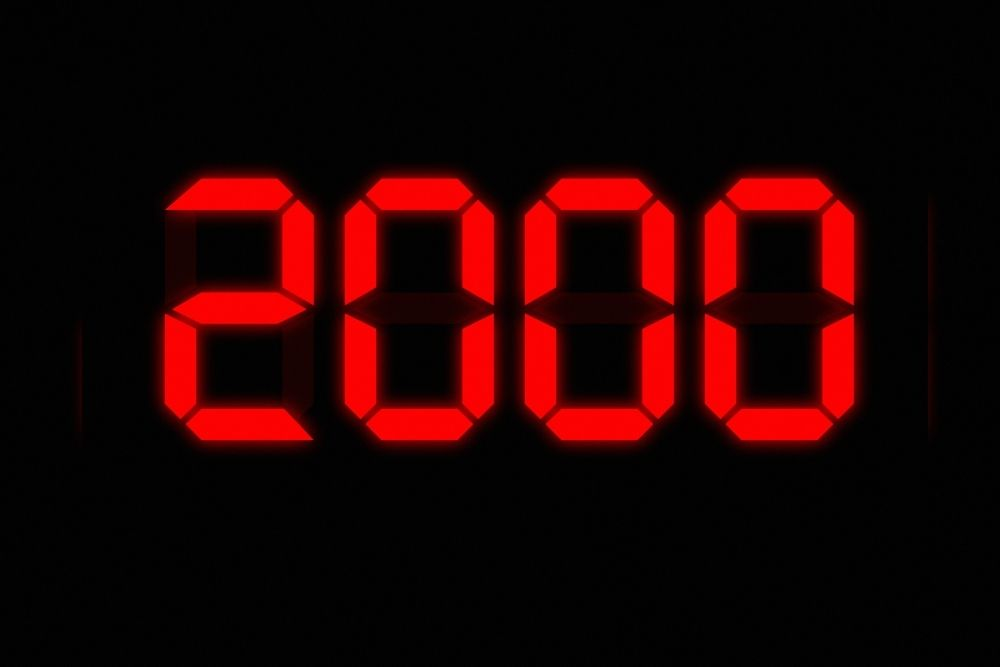 The number 2000 is written with red digits over black background
