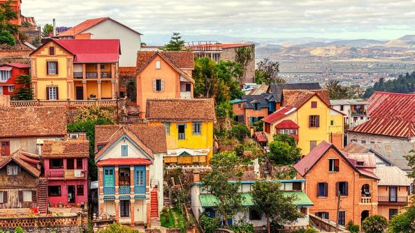 Colorful African houses on a mountain.