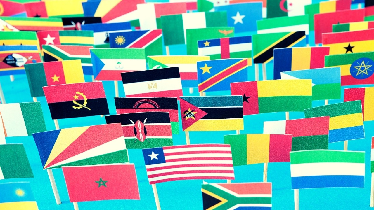 All African countries flags.