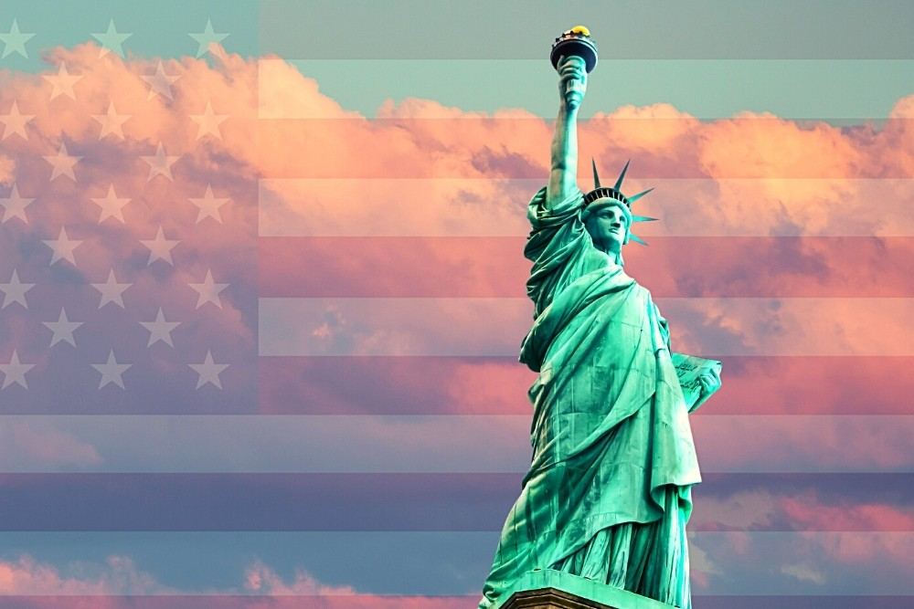 The statue of liberty is a big symbol in American history.