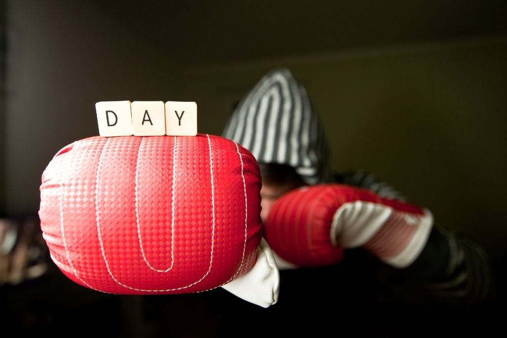 """A Boxing glove with the word """"day"""" marking the holiday of Boxing Day."""