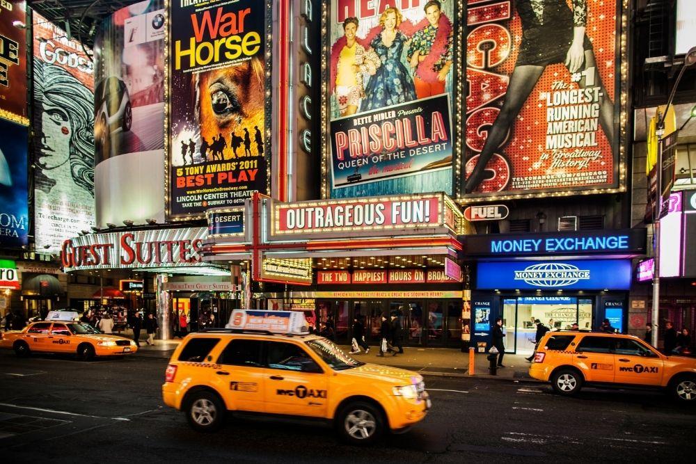 Broadway street at night.