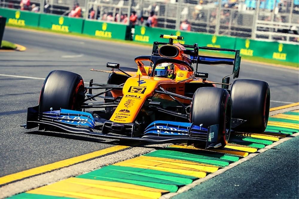 A racing yellow formula 1 car