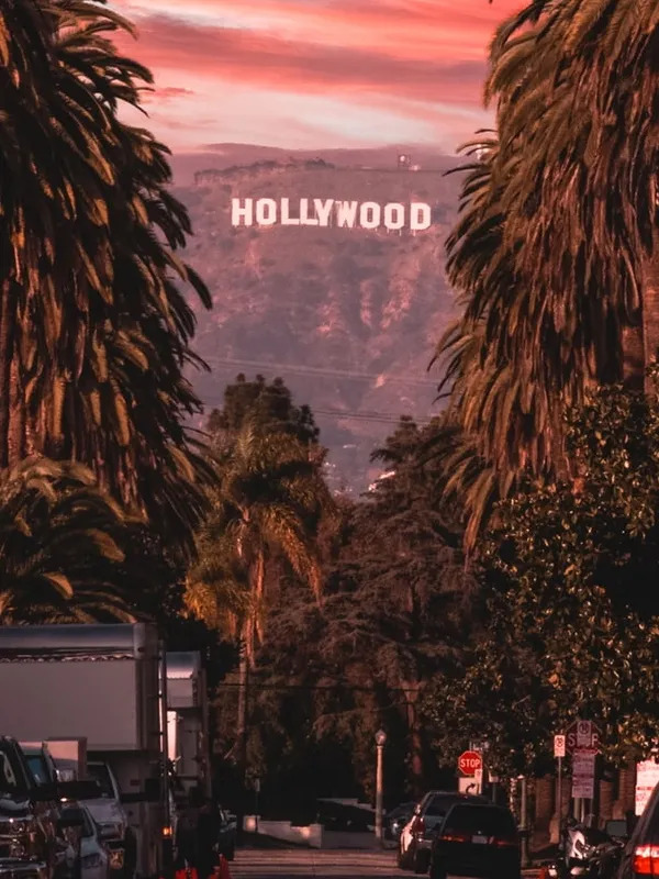 The Hollywood sign on a sunset.