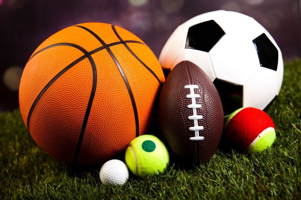 All the sports balls such as Football, Soccer, basketball, tennis, and more.