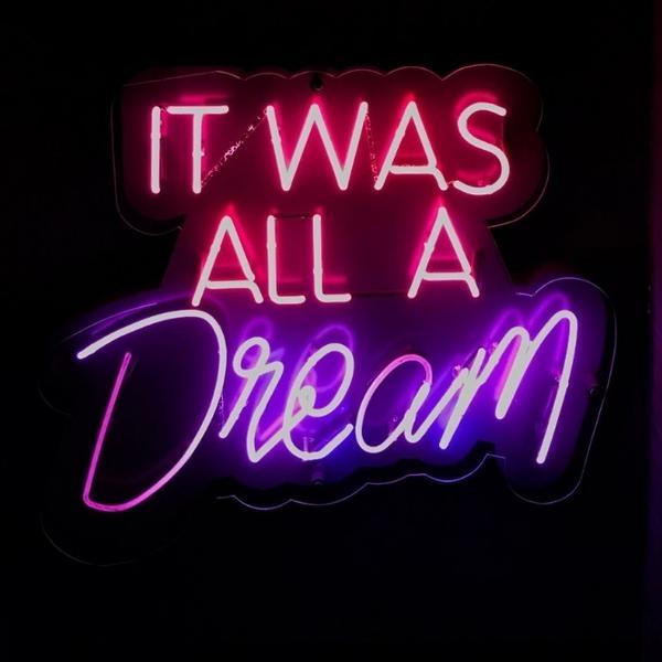 Film quote on neon lights.