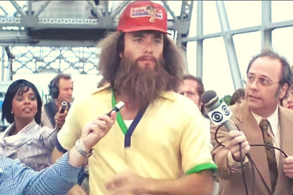 Forrest Gump in the scene when he's running and has a long beard.