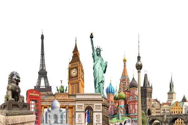 Geography world landmarks collage.