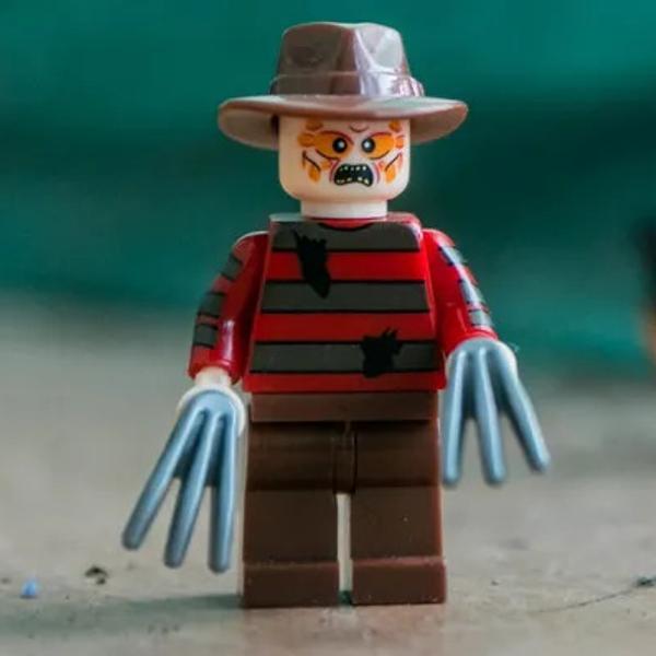 Freddy Krueger from the horror movie, made of Lego.