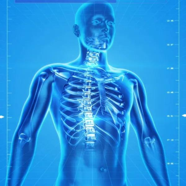 Blue X-ray of the upper human body.