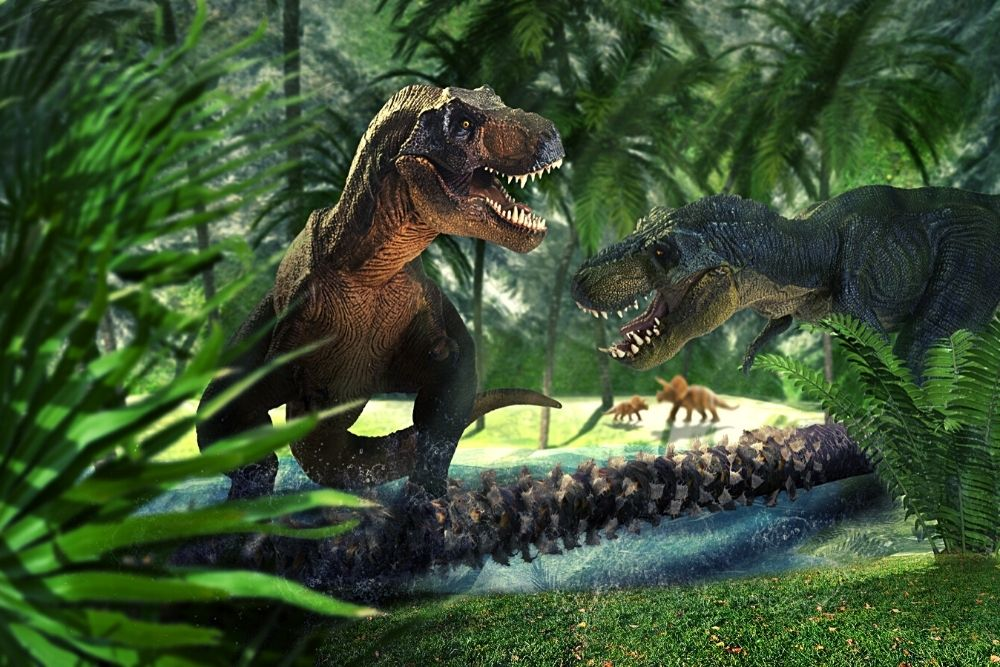 Two T-rex are fighting in Jurassic Park.