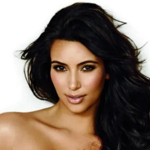 Kim Kardashian on a white background.